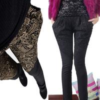 New Spring Autumn Women Pants Plus Size Hot stamping lace stitching leisure haroun pant winter plus velvet Woman Leggings
