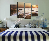 sunrise High quality thick texture Beach seascape painting landscape oil painting reef Hand Painted Wall Decor pictures Canvas