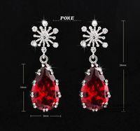 ZSE051  Wholesale 2015 New AAA Red Cubic Zirconia Waterdrop Wedding Stud Earrings For Women Bincos Fashion Jewelry bijoux POXE