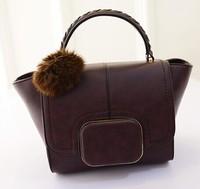 2015 New fashion bags women messenger bags 6 colors wings wave bag fur ball bag lady bag shoulder handbag baodan  wholesale