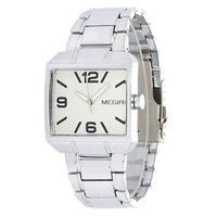 Big Number MEGIR Quartz Watches Men Stainless Steel Band Wristwatch 2035 Movement + Small Dial No Function MG1016