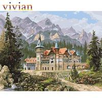 vi288 DIY digital oil painting Frameless picture MS8462 Wukanbeier Castle paint by number kits unique gift home decor