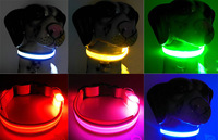 2015 New solod led flashing Dog Collar LED Pet Collar XS/S/M/L Dogs Flashing Lighting Safety Collars 6 colors 10PCS/LOT