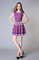 Cute Silk & cotton Dress Fashion Style Ladies Sleeveless Plaid Mini Dress Women Spring & Summer Dress