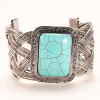 2015 Fashion Vintage turquoise bangle Jewelry weave twist tibetan silver chain bracelet/ turquoise bangle for woman HCC-B022