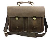 Luxury Brand Vintage Business 100% Genuine Crazy Horse Cowhide Leather Men Handbag Messenger Shoulder Bag Bags Breifcase For Men
