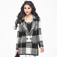 201 5 new plus size women plus fertilizer thin loose plaid long-sleeved sweater 6006
