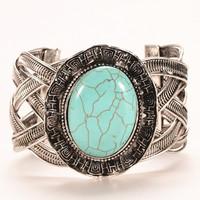 Fashion oval turquoise bangle Jewelry weave twist bangle tibetan silver chain bracelet/ turquoise bangle for woman HCC-B020