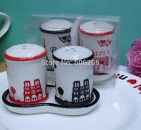 8sets/Lot Unique ceramic cruet set Paris Eiffel Tower Design salt and pepper shaker with Tray for Tourist Gift Souvenirs