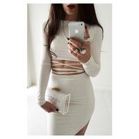 New Fashion Summer 2015 Bandage Bodycon Sexy Dress Midi Evening Party Night Club Dew Waist Slit Dress White