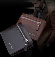 Free shipping fashion design genuine leather men's wallet, business style brand men's short wallet zipper wallet clutch  purse