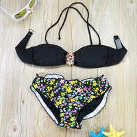 2015 Brand Ladies Diamond Bikini Swimwear New Arrival Women Sexy Women Floral Print Swimsuits