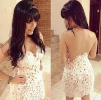 Hot summer women sexy white  Slim openwork crochet gauze dress stitching lace dress mini  chiffon dress