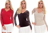 1pcs New Plus Size Women's Sexy Cotton Lace soft Long sleeve V-Neck Women's Blouse Shirt free shipping 3color