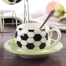Four blessing creative football mugs ceramic coffee cup set 6 cups 6 disc 6 tablespoons coffee