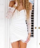 Hot summer new European lace strapless A-line dress irregular package hip  chiffon  mini