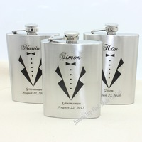Personalized wedding gift of  8oz  stainless steel hip flask