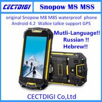 New original Snopow M8 M8S  Waterproof phone GPS 3G Android 4.2 PTT Radio Walkie talkie MTK6589 IP68 smart phone