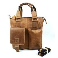 2015 Fashion Male Man 100% Genuine Cow Leather Messenger Shoulder Tote Bag For Men Briefcase Quality Zipper Pocket