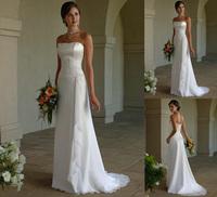 2015 New Fashion Floor-Length Chiffon Wedding Dresses Bride Dress Bridal Gown Lace-up Back In Stock Vestidos De Noiva