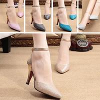 New 2015 Women Sandals Gladiator Black Gold Shoes Peep Rome High Heel Pointed Toe Casual Sandalias Woman Shose Femininas Shoe