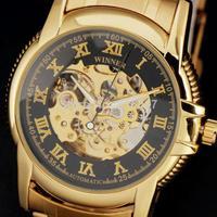 2015 new winner fashion skeleton gold full steel stainless strap men male mechanical automatic self-wind wrist watch 8264