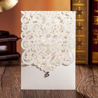 50 sets(Card+envelop+seal)Luxury Laser Cut Wedding Invitations Cards Engagement Gatefold Invite DIY 18.6*12.8cm Wedding Favors
