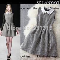 Crepe Polka Dot Runway Wool-Blend Women Dress Clothing