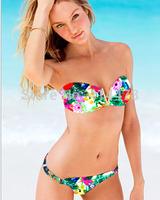 Sexy Deep V Bikini Set Swimwear Women Print Leopard Striped Bikini Swimsuit Bathing Suit Biquini Biquinis 2015 Free Shipping