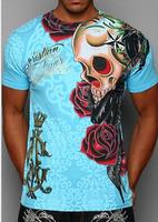Hot,Fashion Men's diamond skull printed cotton short-sleeved T-shirt men,J1