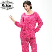 2015 autumn rustic fancy long sleeve length pants cotton casual women's lounge Pajama set
