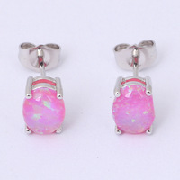 Ladies 925 Silver Sterling Purple Fire Opal Desiger Silver Stud Earrings for women Fashionl Jewelry Opal Jewelry OE271