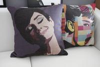 Color Pop Modern Hepburn poster home office sofa cushion cotton pillow cushion car cushion