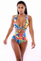 Beauty online New Sexy Neon Tropics Wrap Swimsuit Lingerie LC4251