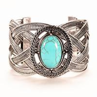 Fashion Jewelry hot selling weave twist bangle tibetan silver chain bracelet/ popular turquoise bangle for woman HCC-B017