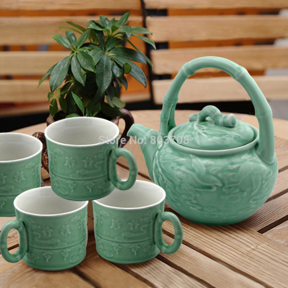 Free shipping bamboo handle teapot exquisite teapot ceramics teacup(China (Mainland))