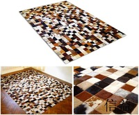 Natural cowhide puzzle modular rug patchwork cowhair horsehair genuine leather fashion decorative
