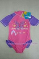 Retail (4-7Y) Girls short sleeve sun protection swimwear Girls one piece surfing beach boysuit, butterfly print swimsuit UPF 50+