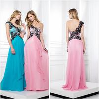 New listing one-shoulder black appliqued long evening dress dress party evening elegant 2015