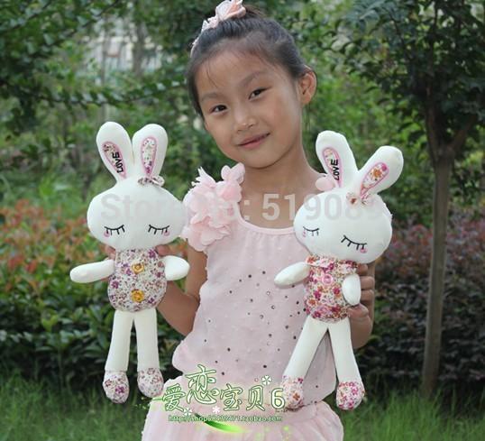 Free Shipping 35cm Floral&LOVE Rabbit Plush Toys Cute Rabbit Plush Doll Stuffed Toy Tiramitu Metoo Rabbit For Kids Gift(China (Mainland))