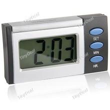 hotwind Rectangle Shaped Multifunction Desktop LCD Digital Alarm Clock - Black & Silver HHE-48660(China (Mainland))