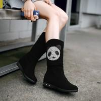 Free shipping new arrival  2014 panda comfortable medium-leg student boots Hot-selling