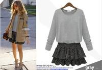 2015 New Hot Sale Women Dress for Spring wear Sweet Casual long Sleeve Batwing Floral Chiffon Mini Dress
