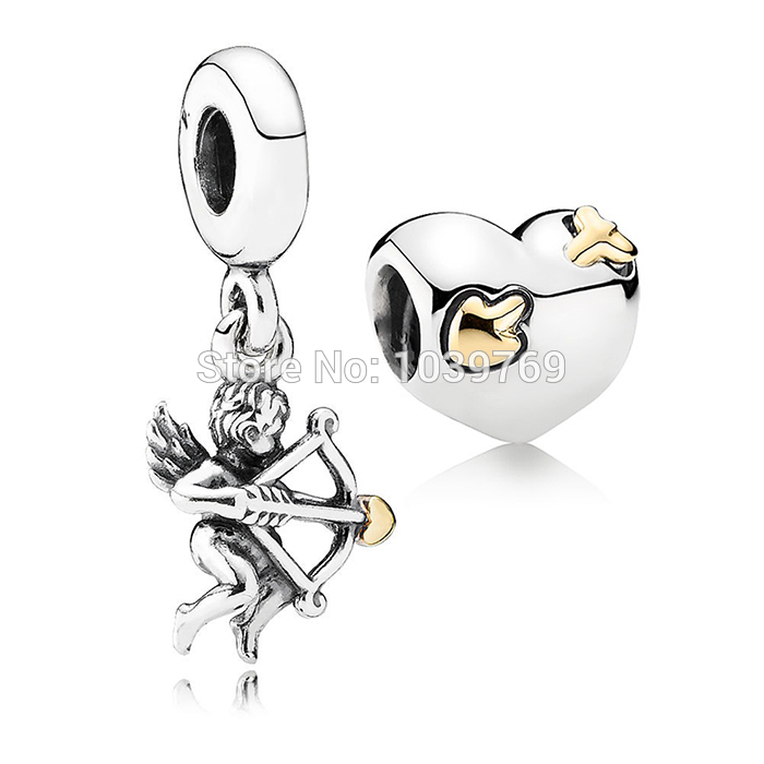 Fit Pandora Bracelets Gold Plated Heart Jewelry Sets Authentic 925 Sterling Silver Cupid Arrow Charm Pendants