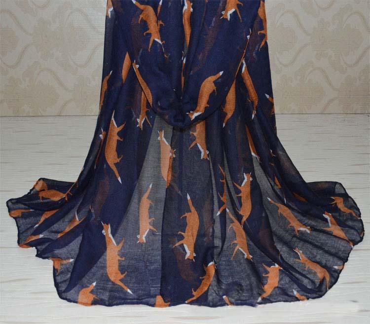 2015 winter scarf New Fashion vogue Fox Scarf Animal printed woman scarf long neck warmer bufanda free shipping(China (Mainland))