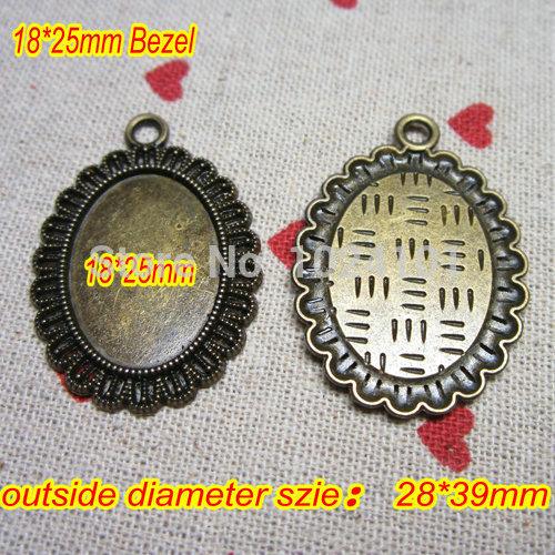 2014 Newest Design 18*25MM Antique Bronze Plated Oval Pendant trays,jewelry mountings settings pendants,pendant bezel,20pcs/lot(China (Mainland))