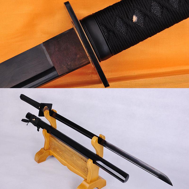 HANDMADE BLACK FULL TANG BLADE JAPANESE IRON TSUBA SAMURAI KATANAS NINJA SWORD(China (Mainland))