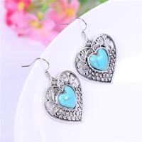 Hotsale Retro Vintage Silver Plated Sweet Heart Dangle Earrings Charm Turquoise Quality Lady Earrings for Women Jewelry