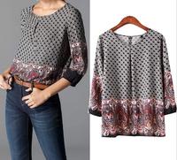 2015 Spring Blusas Ladies' Tomen Floral Pattern Print Vintage Casual Blouses Women Shirts O Neck Three Quarter Sleeve Brand Tops