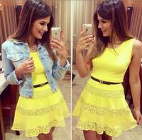 Hot summer new women Slim yellow stitching lace sleeveless dress tutu mini  free shipping